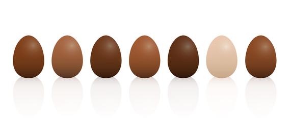Easter eggs with different chocolate taste. Dark, light and milk chocolate. Isolated 3D vector illustration on white background.