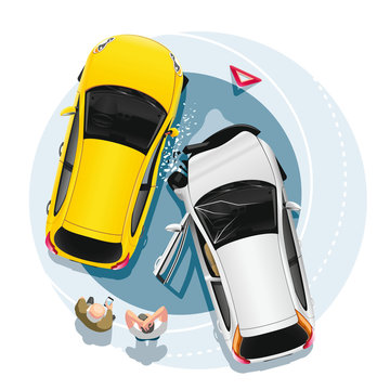 Two drivers stand near their cars after a collision in an accident. Cartoon vector illustration top view.