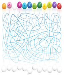 Easter egg labyrinth - connect the colored easter egg letters with the white eggs to write HAPPY EASTER. Funny labyrinth game for children. Vector illustration on white background.