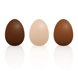 Milk, dark and light chocolate Easter eggs. Isolated 3D vector illustration on white background.