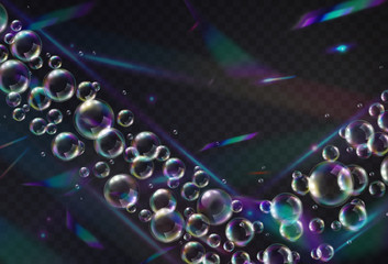 Wall Mural - Holographic glitter with soap bubbles isolated on transparent background. Rainbow iridescent overlay texture. Vector foil hologram balls and spheres. .