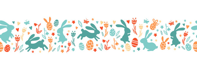 Foto auf AluDibond Künstlich Cute hand drawn easter bunnies horizontal seamless pattern, easter doodle background, great for textiles, banners, wallpapers, wrapping - vector design