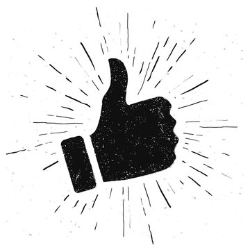 Vector Illustration Like Hand In Vintage Style. Hand Drawn Thumbs Up Icon.