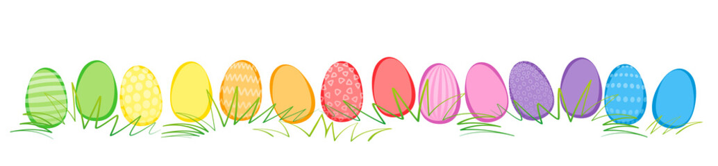 Easter Eggs Comic Easter eggs, comic style, in a row with different colors and patterns. Rainbow colored isolated vector illustration on white background. Colored Pattern