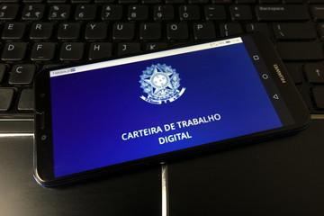 KONSKIE, POLAND - January 11, 2020: Carteira de Trabalho Digital app logo on mobile phone