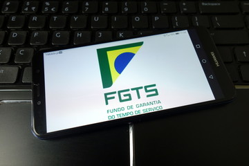 KONSKIE, POLAND - January 11, 2020: Fundo de Garantia do Tempo de Servico Fgts logo on mobile phone