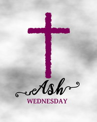 Purple cross on ash for Ash Wednesday concept design background