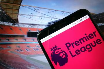 KONSKIE, POLAND - January 11, 2020: Premier League logo on mobile phone