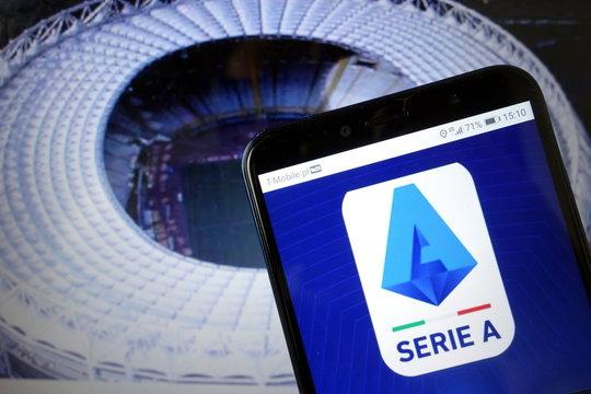KONSKIE, POLAND - January 11, 2020: Serie A logo on mobile phone