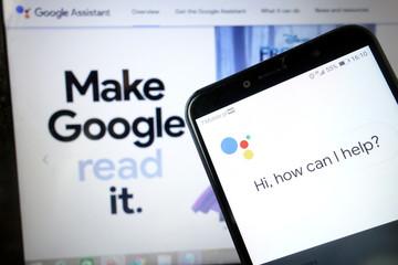 KONSKIE, POLAND - January 11, 2020: Google Assistant logo on mobile phone