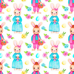 Hand-drawn seamless watercolor easter pattern with girl bunny, easter eggs and flowers on a white background.Pattern for fabric,invitations, wrapping paper, cards and other materials.