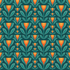 Flowers leaves vector background. Mid-century modern geometric seamless pattern. Decorative ornament in retro vintage design style. Floral backdrop.