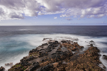 El Pris volcanic rocks,  Atlantic ocean volcanic seascape, long exposure photography, Tacoronte, Tenerife, Canary islands, Spain