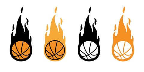 basketball fire ball vector icon logo sport cartoon character symbol illustration doodle design