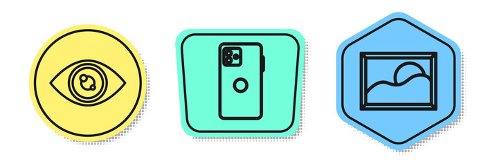 Set line Eye, Smartphone, mobile phone and Picture landscape. Colored shapes. Vector