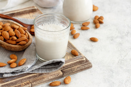 Vegan almond milk, non dairy alternative milk