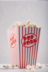 Classic retro red and white popcorn box