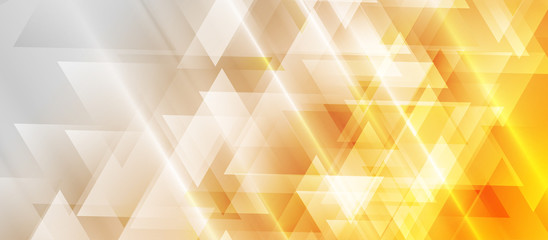 Orange and grey technology geometric low poly abstract background. Polygonal digital art vector design