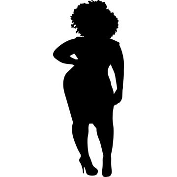 African American Woman Standing in Dress and Heels, Black Afro People Silhouette Vector