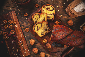 Sweet braided bread loaf