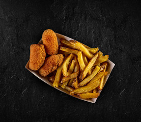 French fries and cheese nuggets