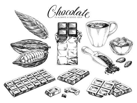Chocolate desserts hand drawn vector illustrations set