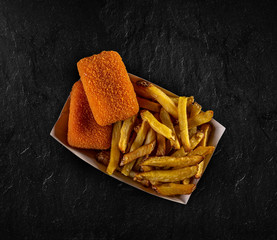 French fries and breaded cheese