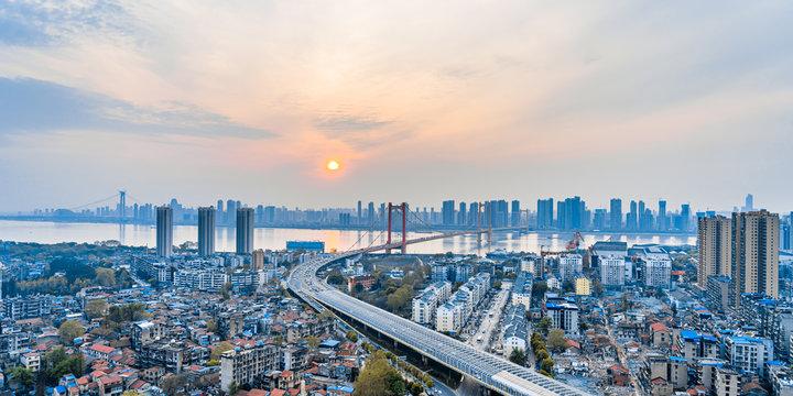 Dusk scenery of Parrot Island Yangtze River Bridge, Wuhan, Hubei, China