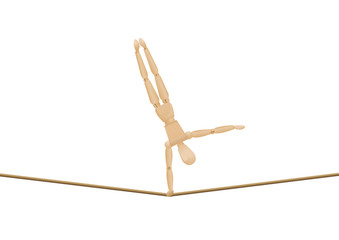 Tightrope walker making handstand with one hand. Balancing athletic wooden mannequin, lay figure, on a long rope. Isolated vector illustration on white background.