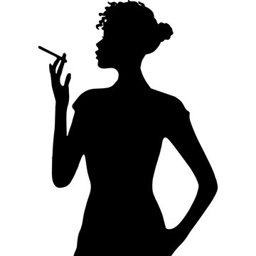 African Amercian Woman Smoking, Black Afro People Silhouette Vector
