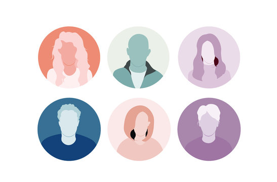 Characters, Persona for user research, vector avatar, many faces