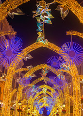Christmas decorations 2019 on Calle Marques de Larios street in the centre of Malaga city, Andalusia, Spain.