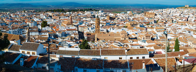 Panoramic aerial skyline view of Antequera city, province of Malaga, Andalusia, Spain.
