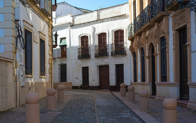 Calm empty street in Ronda, Andalusia, Spain