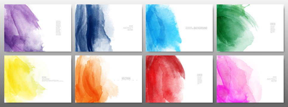 Set of horizontal template with watercolor