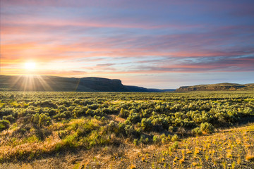 Sunset in the high desert and mountains of the Pacific Northwest near Wenatchee, Washington, in the United States.