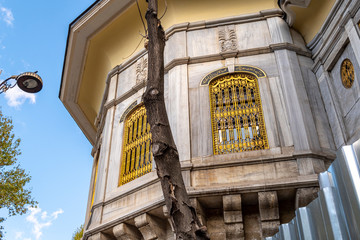 Ornate golden designs on the exterior of a typical building in the Sultanahmet district of Istanbul, Turkey.