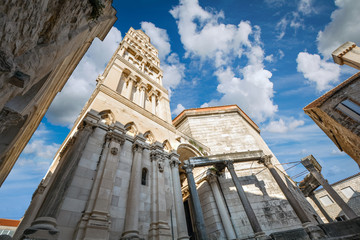 The Saint Domnius Cathedral and bell tower in the Diocletian's Palace Old Town of Split, Croatia.
