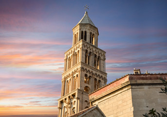 The tower of Saint Domnius Cathedral at sunset in the Diocletian's Palace Old Town of Split, Croatia.