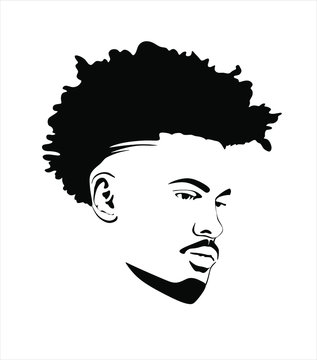 Black african american afro male face portrait vector silhouette with curls hair style.Man head silhouette isolated on white background.