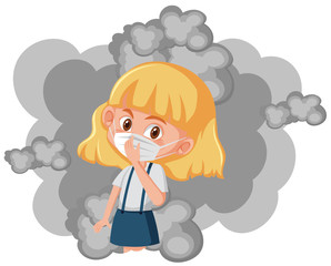 Girl wearing mask with dirty smoke in background