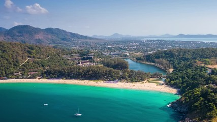 Fototapete - Hyperlapse of Nai Harn beach during sunny day, Phuket island, Thailand. Timelapse with zoom in effect
