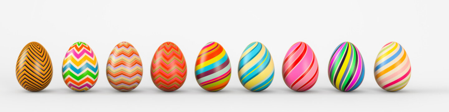 Set of realistic eggs on white background. 3D rendering illustration.
