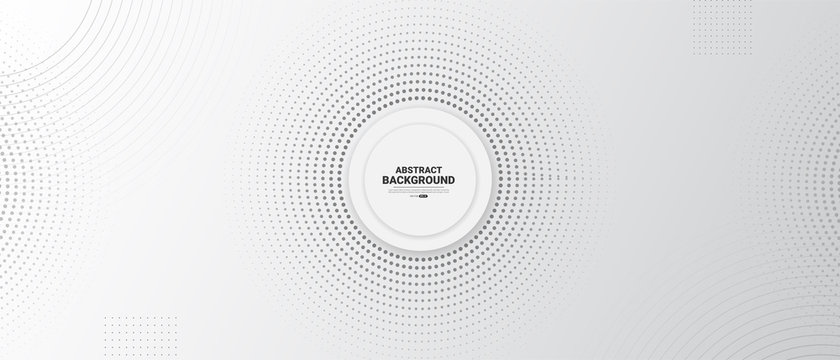 Gray and white abstract background with halftone circle dotted.
