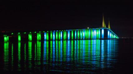 Skyway Bridge light display—verdant green
