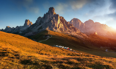 Unsurpassed sunrise in the mountains. Dramatic sunset in dolomites alp mountain from Ra Gusela peak under sunlight. Amazing nature landscape. Picture of wild area. wonderful picturesque Scene