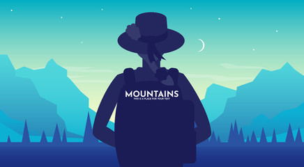 Aluminium Prints Turquoise Woman with backpack, traveller or explorer wearing a hat at night standing and looking on valley. Concept of discovery, exploration, hiking, adventure tourism and travel. Flat vector illustration.