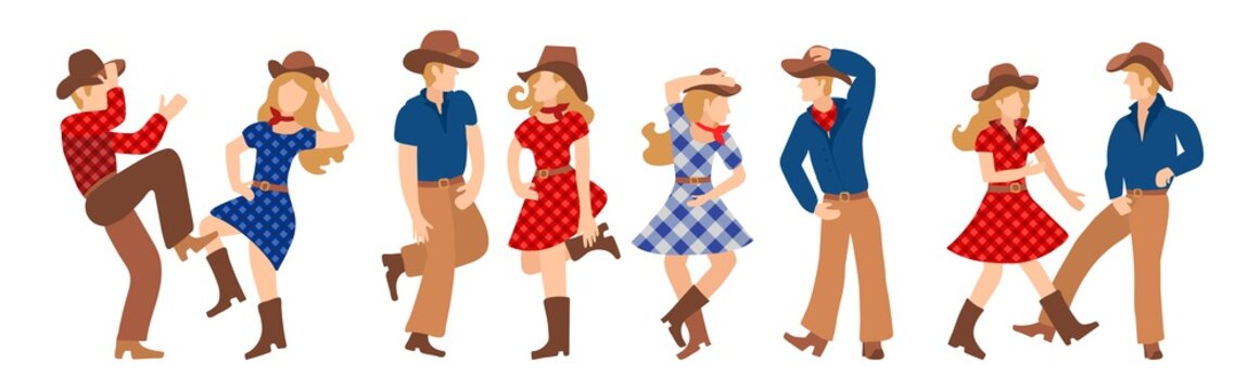 Vector illustration of a group of cowboys and cowgirls in western country dancing a line of dance. Couples man and woman dancing a cheerful dance in American folk style.