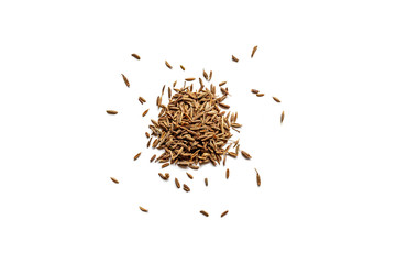 Fototapeta Top view of a pile of organic dry cumin seeds isolated on a white background obraz