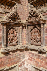 Artwork of the temple at Durban square on Patan near Kathmandu, Nepal